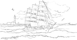 Sailboat on waves. Sailboat in the sea illustration stock illustration