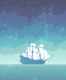 Sailboat with white sails Stock Images