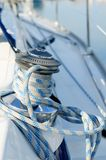 Sailboat winch. Rope and winch on a sailboat Royalty Free Stock Photos