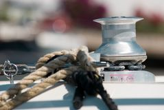 Sailboat Winch and Rope Yacht detail. Yachting stock photo