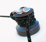 Sailboat Winch and Rope Yacht detail. Yachting Royalty Free Stock Photos