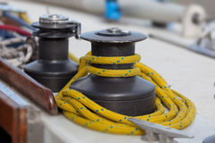 Sailboat winch and rope yacht Stock Images