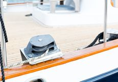 Sailboat winch and rope yacht detail Royalty Free Stock Photos
