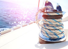 Sailboat winch and rope yacht detail Royalty Free Stock Image