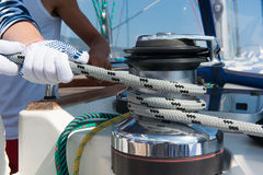 Sailboat Winch and Rope Yacht detail. Yachting. Royalty Free Stock Image