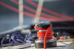 Sailboat winch and rope yacht detail. Stock Photo