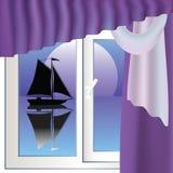 Sailboat and window Stock Photo