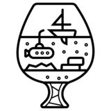 Sailboat in a wineglass vector illustration
