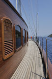 Sailboat wooden deck  Royalty Free Stock Image