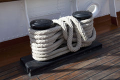 Sailboat wooden marine rigs and ropes. Royalty Free Stock Photography