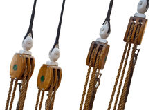 Sailboat wooden marine rigs and ropes Stock Photography