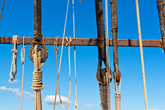 Sailboat wooden rigging Royalty Free Stock Photos