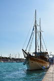 Sailboat. Wooden sailboat at the pier in Trogir, Croatia Stock Photo