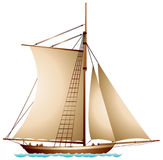 Sailboat, XIX century sailing vessel Royalty Free Stock Images