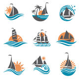 Sailboat and yacht icons Royalty Free Stock Photos