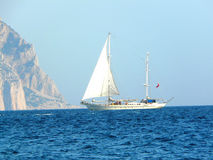 Sailboat. Yacht sail mount Sleeping beauty Balaklava Crimea Stock Photography
