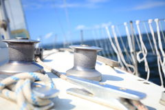 Sailboat yacht sailing in blue sea. Tourism Stock Image