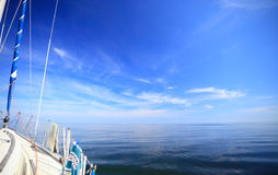 Sailboat yacht sailing in blue sea. Tourism Royalty Free Stock Photography