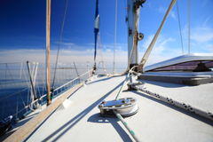 Sailboat yacht sailing in blue sea. Tourism Royalty Free Stock Photo