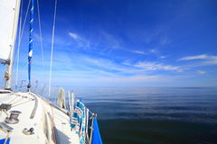 Sailboat yacht sailing in blue sea. Tourism Royalty Free Stock Images