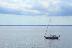 Sailboat yacht sailing in blue sea. Tourism Royalty Free Stock Photos