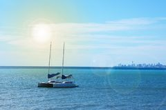 Sailboat yacht in the sea bay. Royalty Free Stock Image
