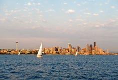 sailboating的西雅图 图库摄影