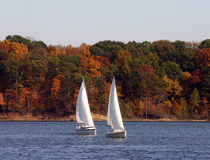 sailboats δύο Στοκ Φωτογραφία