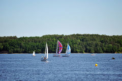 sailboats λιμνών Στοκ Εικόνα
