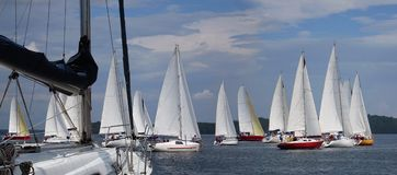 Sailboats που επιπλέουν στην μπλε λίμνη το καλοκαίρι Στοκ εικόνα με δικαίωμα ελεύθερης χρήσης