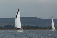 Sailboats συμμετέχουν στο regatta ναυσιπλοΐας μεταξύ της ελληνικής ομάδας νησιών στο Αιγαίο πέλαγος, στο Κόλπο Κυκλάδες και argo- Στοκ Φωτογραφίες