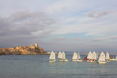 Sailboats #01. Sailboats in the Harbour Cote d'Azure Stock Images