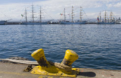 Sailboats. Moored  dock at the port of valparaiso chile Stock Image