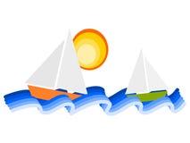 Sailboats. Abstract illustration with three sailboats Royalty Free Stock Photos