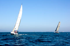 Sailboats. Off the coast of Long Beach, California Stock Images