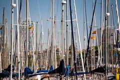Sailboats. Lot of sailboats in Barcelona Harbor Stock Image