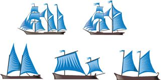 Sailboats. Five sailboats with blue sails on white background Stock Image