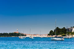 Sailboats in Adriatic harbor of Rovinj. Croatia. Popular tourist destination Royalty Free Stock Photos