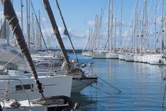 Sailboats in Alimos Marina. On a partially cloudy day Royalty Free Stock Photography