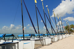 Sailboats along the Shoreline Stock Images
