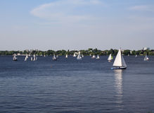 Sailboats at Alster lake Stock Photos