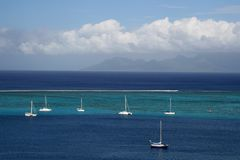 Sailboats at anchor Royalty Free Stock Images