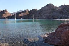 Sailboats anchored at Agua Verde Royalty Free Stock Image