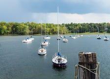 Sailboats anchored in bay Royalty Free Stock Photo