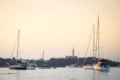 Sailboats anchored in harbour of Rovinj Royalty Free Stock Photography