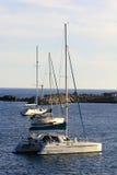 Sailboats anchored in marina Stock Photo