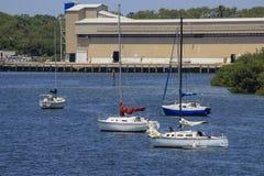 Sailboats Anchored at Marina Royalty Free Stock Photos