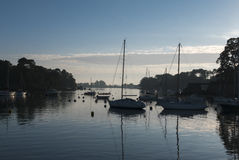 Sailboats anchored in the Morbihan gulf, Island of Conleau, Brit Stock Photos