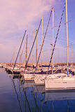 Sailboats anchored at port Stock Images