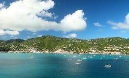 Sailboats anchored in St. Thomas Stock Photo